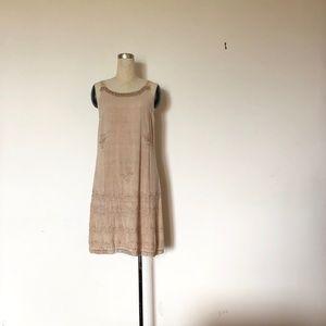Model France - Cream Dress + Embroidery Fringe